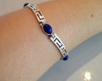 Vintage Southwestern Style Sterling Silver Bracelet with Deep Blue Stones