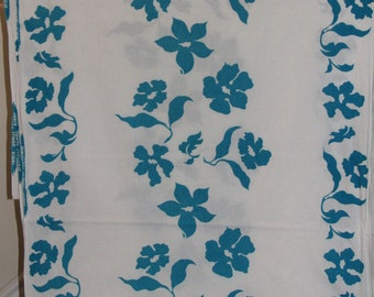 Cotton Fabric Yardage, 3 yds, Pareu Tahiti Classique, White with Blue Flowers, South Pacific Sewing Material, Turquoise Floral, Gardenia?