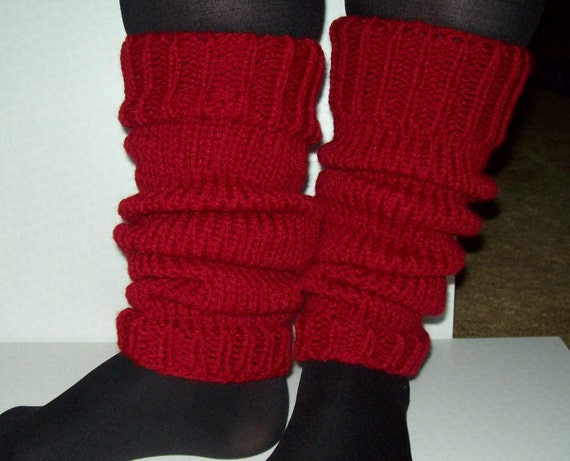 Knitting Pattern For Chunky Leg Warmers : Chunky knit leg warmers. Selection of colours. BURGUNDY