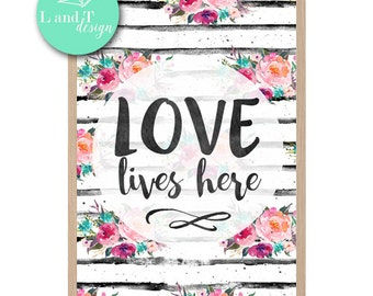 Love Lives Here Wall Print