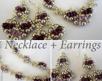 PDF tutorial Necklace + Earrings_ amethyst beaded necklace and earrings_Swarovski crystals