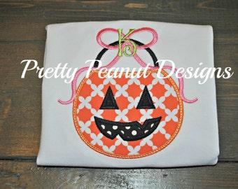 Girl Jack-O-Lantern Pumpkin Bucket Shirt or Onesie and Bow Set - Girl Halloween Shirt