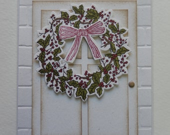Christmas Wreath on White Door
