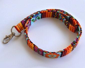 Southwest Lanyard / Floral Southwest / Colorful Keychain / Southwestern Print / Key Lanyard / ID Badge Holder / Fabric Lanyard