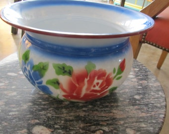 Colorful Vintage Floral Enamel Pot