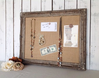 Framed cork board - pin board - distressed finish