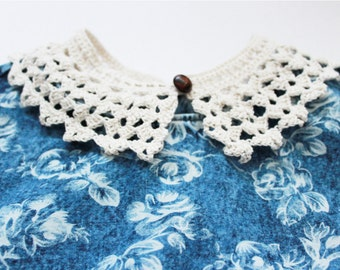 Vintage necklace - Cream ecru Peter Pan collar - Handmade vintage style crochet lace collar