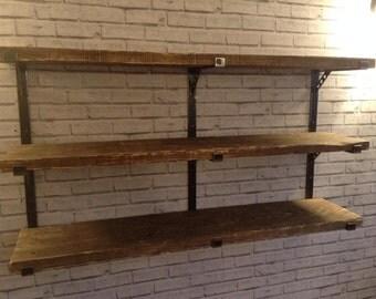 Solid steel handmade adjustable shelving system and shelves