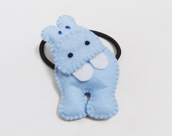 Blue hippo hair tie