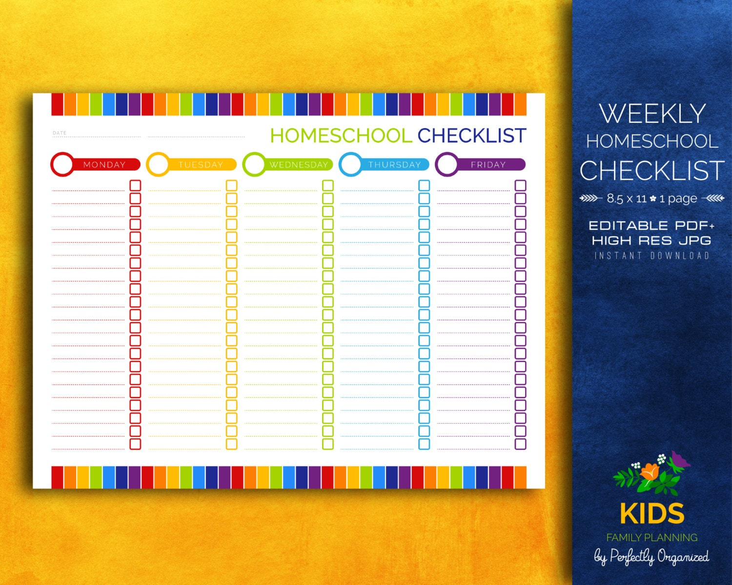 Weekly homeschool checklist homeschool lesson plan kids for Homeschool checklist template