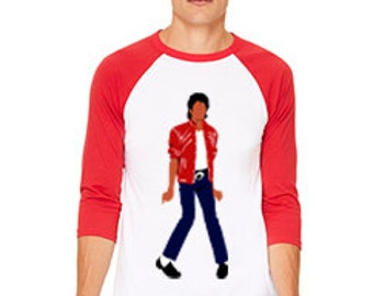 Beat It Outfit Inspired Poly-Cotton 3/4 Sleeve Raglan Shirt 3200