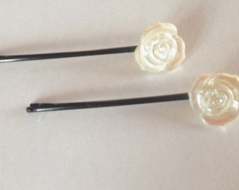 Flower Button bobby pins set of 2