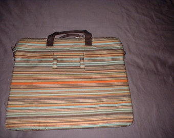 Casauri Laptop Bag Case Envelope Style Striped with ID holder zippered compartment