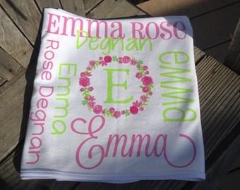 Personalized Baby Blanket - Floral Wreath Baby Blanket for Girls - Baby Name Flower Blanket - Newborn Swaddling Blanket - Baby Girl Gift