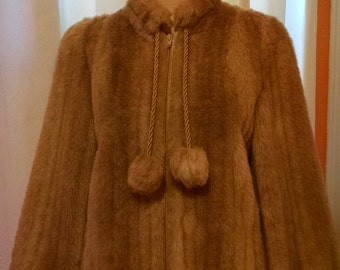 Ladies Union Made Faux Fur Coat with Pom Poms Shades Of White & Beige Fur Size Medium