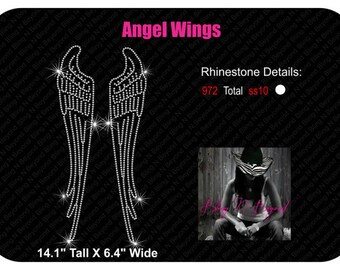 Extra large Angel Wings Rhinestone Bling Shirt