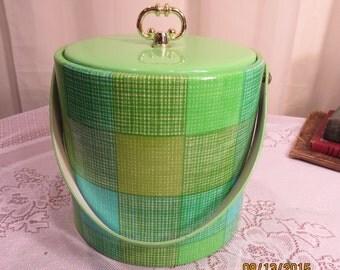 Vintage Lime Green Ice Bucket - Pop of Color - Barware - Ice Bucket  - Home Decor  -