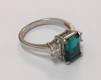 Beautiful Lab Created Emerald CZ Silver Ring