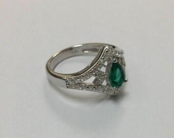 Beautiful Lab Created Emerald CZ Silver Ring
