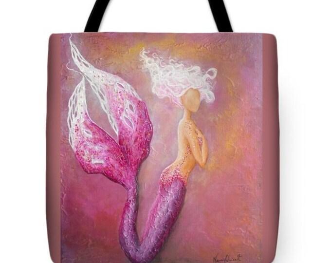Mermaid tote bag, pink mermaid purse,  mermaid beach tote, original painting by Nancy Quiaoit at NancyQart