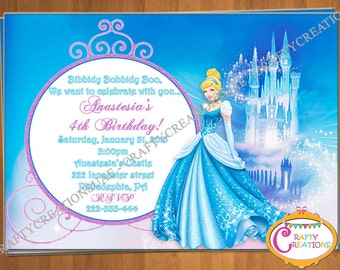 Cinderella Invitation - Disney Princess Cinderella Invite - Printable Cinderella Birthday Invitation- Personalized Cinderella Invite