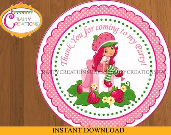 INSTANT DOWNLOAD - Strawberry Shortcake Favor Tags - Sticker- Party Tags- Thank You Tags- Gift Tags- Birthday - Printable - CraftyCreations