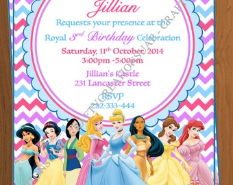 disney princess invitation disney princess party invitation princesses birthday party invitation printable digital - Disney Princess Party Invitations