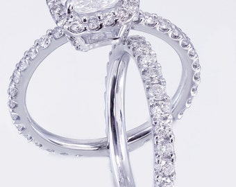 14k White Gold Cushion Cut Forever One Moissanite and Diamond Engagement Ring And Band 2.50ct