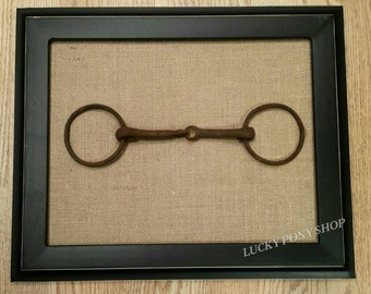 Antique Horse Bit Framed-Distressed Black Frame Mounted With Vintage Snaffle Horse Bit Mounted on Burlap-Lucky Pony Shop