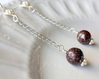 Dark Red Marcasite earrings, Dark Red earrings, Silver earrings, Gemstone earrings, Dark Red Dangle Earrings, Chain Earrings