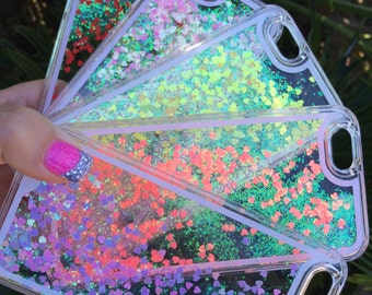 QUICK SHIPPING: Liquid Holographic Heart Glitter Glow iphone Case 5/5s 6/6s 6plus/6s plus, CherisDesigns