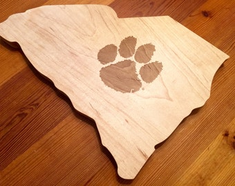 CLEMSON UNIVERSITY State Shaped Cheese/ Cutting Board Family Home State Cutting Board Serving Tray