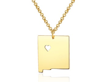 New Mexico Necklace - New Mexico Pendant - 18k gold plated State Necklace - State Charm - Map necklace