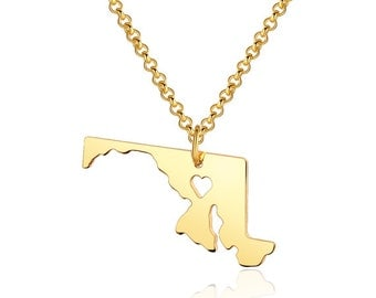 Maryland Necklace - Maryland Pendant - I heart State Necklace - State Charm - Map necklace