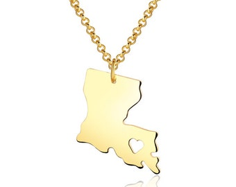 Louisiana Necklace - Louisiana Pendant - 18k gold plated State Necklace - State Charm - Map necklace