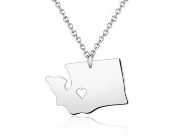 Washington Necklace - Washington Pendant - I heart State Necklace - State Charm - Map necklace