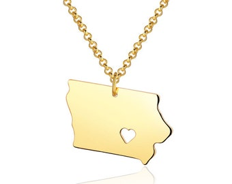 Iowa Necklace - Iowa Pendant - 18k gold plated State Necklace - State Charm - Map necklace