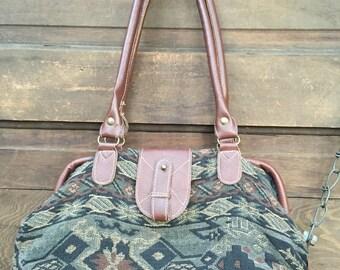 Vintage 90's Southwest Tapestry Hand Bag/ Top Handle Purse