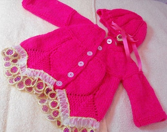 Baby hand knitted cardigan  and hat new 0-3 months hot pink