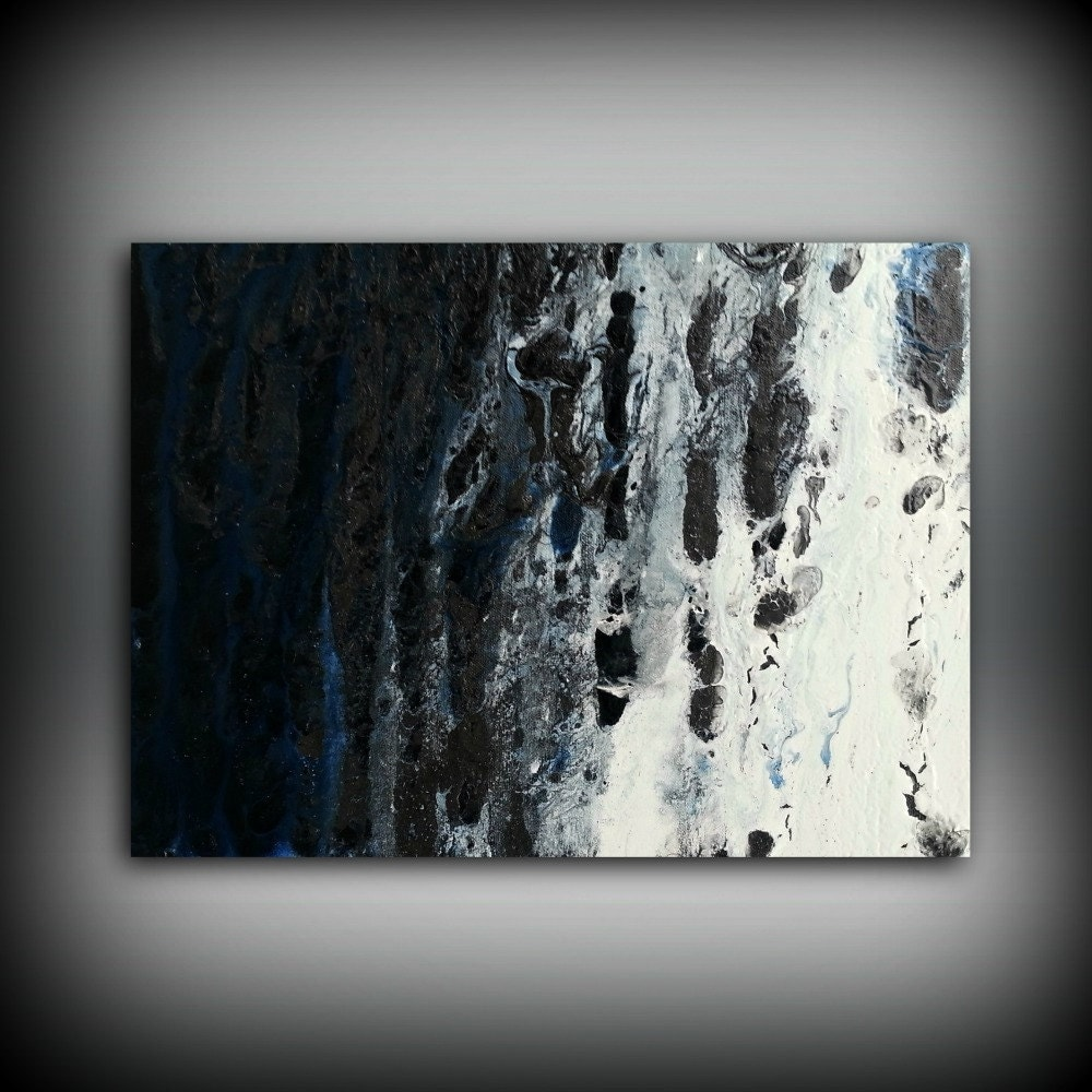 Blue white black painting 12x16 abstract painting for Small wall art