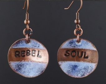 Enameled copper earrings,rebel soul earrings, rebel boho earrings, enameled earrings, rebel copper earrings, boho earrings, rebel