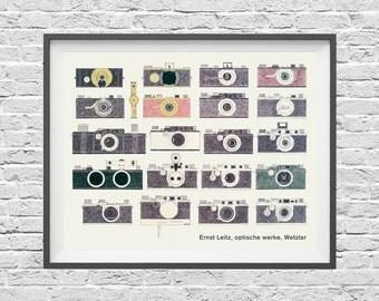Leica Camera Poster - Vintage Rangefinder 35mm cameras - History of Photography