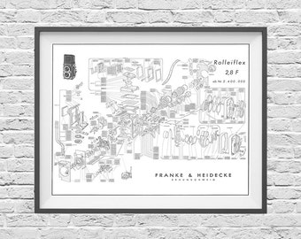 Blueprint art etsy rolleiflex 28f tlr camera poster art print blueprint patent exploited malvernweather Image collections