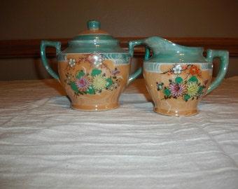 Vintage Luster Ware Asian Style Creamer/Sugar bowl