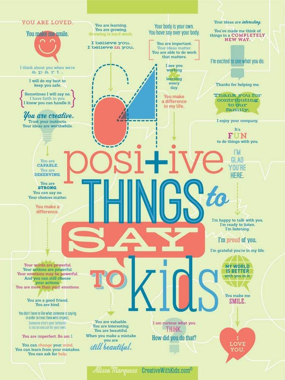"""64 Positive Things to Say to Kids Print 18x24"""""""