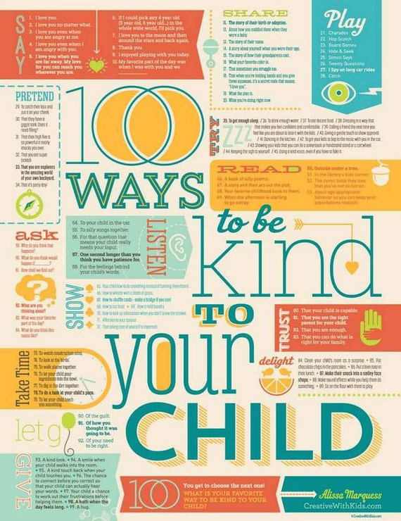 100 Ways to Be Kind to Your Child Print 18x24""