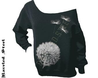 Dandelion in Flight - black with white - Slouchy Oversized Off Shoulder Sweatshirt - Flower
