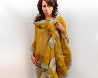 Amber shawl, ideal for dresses, blouses, wedding, bridal - Only one copy for You! eco-fashion fabric