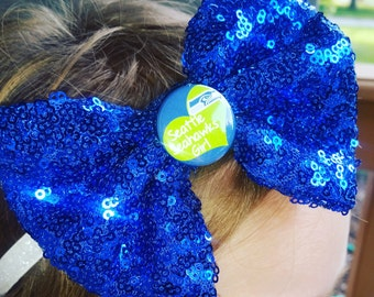Seattle Seahawks Sequined Bow Glitter Headband