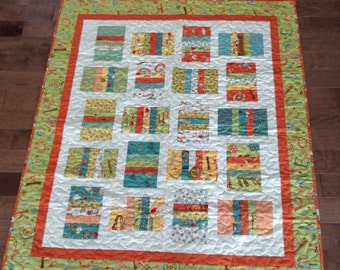 Orange and green and Teal - Bright and Fun Woodland Animals Baby Quilt